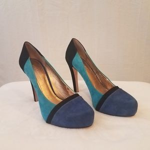 BCBGeneration Color Block Suede Heels Blue